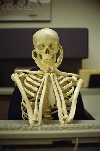 Skeleton Sitting at Computer