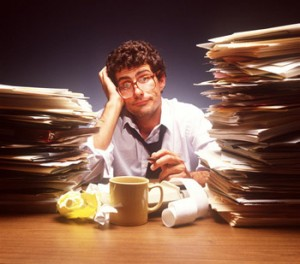 Overworked clerical worker to identify outsourcing blog post